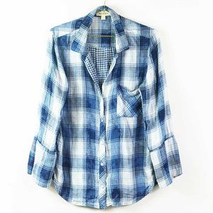 Anthropologie Cloth & Stone Blue Plaid Shirt L